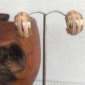 Vintage Pink and Gold Enamel Clip Earrings